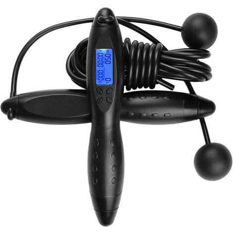 Comptage electronique intelligent de la corde de fitness adulte sautant des calories, corde asauter multi-usage,noir