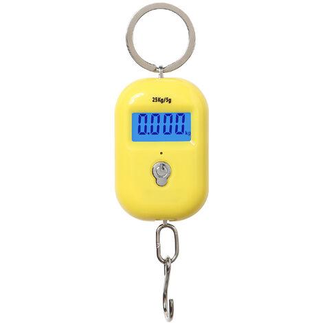 Balance electronique WeiHeng, balance portable, balances suspendues portables 25kg / 5g expediees sans piles jaune