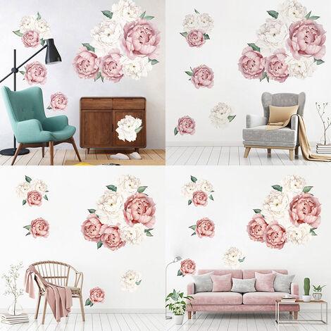 Fanxi Product Creative Peony Series Stickers muraux Blossoming Peony Personnalit¨¦ Combinaison D¨¦coration de la maison Peinture auto-adh¨¦sive, FX64094 Rose clair