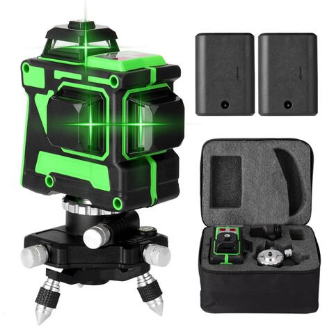 Jeu de niveau laser 3D 12 lignes Norme europeenne 220V, niveau + support triangulaire + alimentation + mallette de transport + manuel, livre avec deux batteries