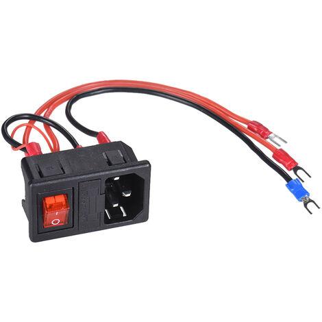 Module de prise de courant 220V / 110V 15A prise male avec fusible adapte a l'imprimante 3D bricolage (la couleur du fil de connexion est aleatoire)