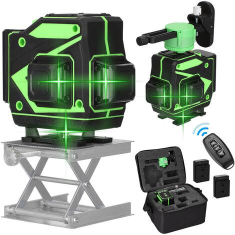 Jeu de niveau laser 3D a 12 lignes avec deux batteries et un chargeur, norme europeenne 220V