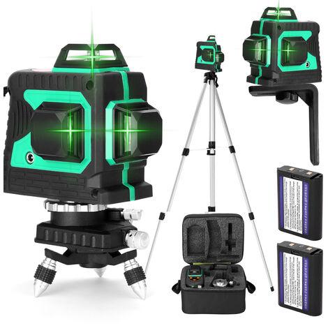 Jeu de niveau laser 3D 12 lignes, norme europeenne 220V, deux batteries et un chargeur