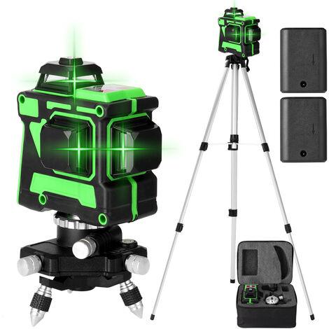 Metre de niveau laser 3D 12 lignes Trepied de metre de niveau de 1,5 m, norme europeenne 220V, livreavec deux batteries, indicateur de niveau + support triangulaire + plaque de fer + alimentation + etui de transport + manuel + tige telescopique