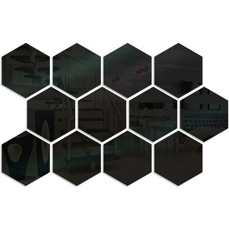 12 pieces de miroir acrylique hexagone stickers muraux bricolage decoration de la maison miroir stickers muraux, taille noire 20 * 17 * 10 cm
