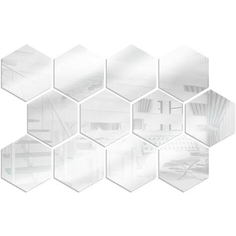 12 pieces de miroir acrylique stickers muraux hexagonaux bricolage decoration de la maison miroir stickers muraux, taille argent 20 * 17 * 10 cm