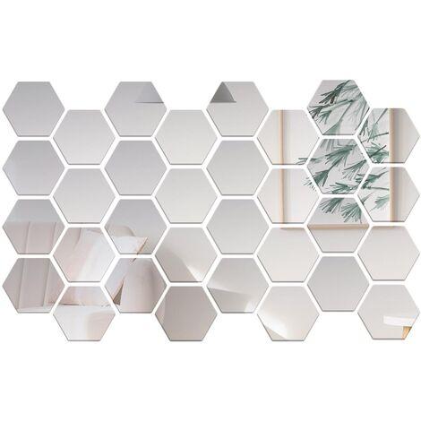 32 pieces de miroir acrylique stickers muraux hexagonaux bricolage decoration de la maison miroir stickers muraux, taille argent 8 * 7 * 4 cm