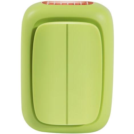 Ventilateur + batterie externe, fonction deux en un, ventilateur de la fonction d'alimentation mobile du cou suspendu a la taille, charge rapide, longue duree de vie de la batterie, vent a trois vitesses, vert primevere