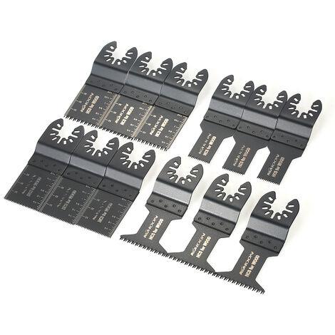 Lame oscillante universelle hybride KKmoon 12 pieces Lame de scie au tresor universelle Accessoires pour machines de coupe d'outils electriques Lame de scie multifonctionnelle en acier a haute teneur en carbone Lame de scie pour tube PV en bois