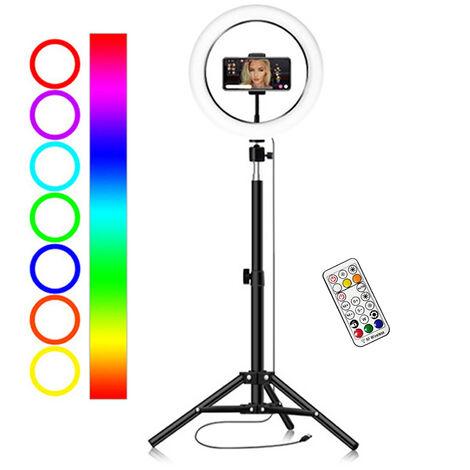 Anneau lumineux RVB de 10 pouces / 26 cm, lumiere de remplissage en direct, avec panoramique / inclinaison + support de telephone de tuyau + trepied de sol 55 cm + modele de plancher de telecommande portable