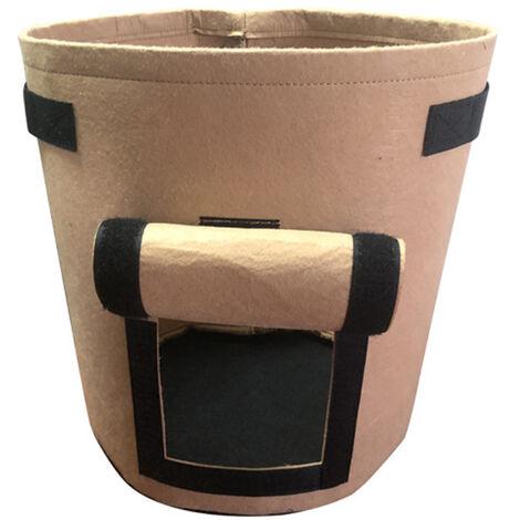 Sac de plantation de pommes de terre, sac de plantation de fraises, sac de plantation de pommes de terre et de tomates a clapet, camel (brun) moyen (30D * 35H) 26 litres