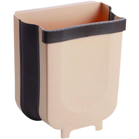 Poubelle Suspendue Type Pliant Portable Porte D'armoire De Menage Tenture Murale Poubelle De Rangement Poubelle De Cuisine Poubelle Suspendue Panier De Voiture Cuisine, Grand Kaki