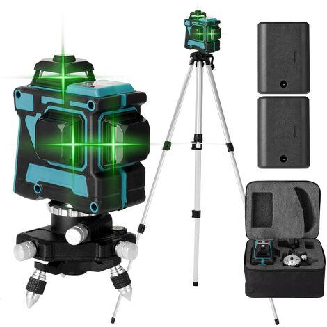 Le metre de niveau laser KKmoon 3D a 12 lignes, le metre de niveau de 1.5 m peut soulever un trepied, norme europeenne 220 V avec deux batteries expediees, corps bleu standard