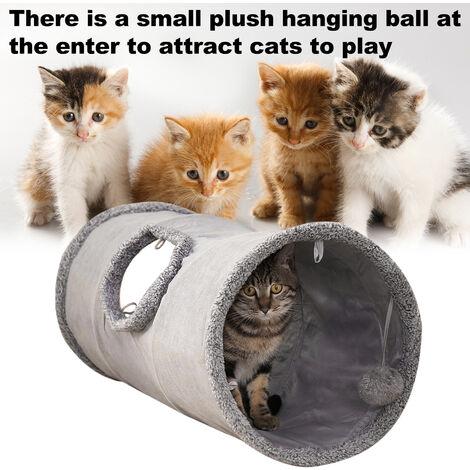 Tunnel de chat pliable pour animaux de compagnie, tunnel de jeu de jouets pour chat Tunnel de froissement pour animaux de compagnie en daim durable avec balle, 67 * 30 cm,modele:Gris S