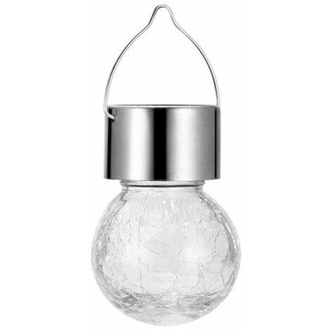 Lampe a suspension solaire Crack Spot scenique Crack Ball Suspension lumineuse Lampe decorative coloree Lampe de jardin solaire Blanc / Blanc chaud / Couleur de la lumiere Mixcolor, modele: Blanc
