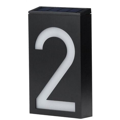 Numero de maison solaire Lumiere LED Numero de maison Lumiere controlee par la lumiere murale solaire Batterie au lithium integree Numero 2