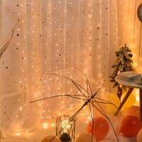 300LED rideau lumineux 8 modes USB star light led petite chaine (la telecommande est expediee sans batterie), 3 * 3 blanc chaud