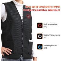 Gilet chauffant intelligent 3 niveaux de temperature de chauffage controlable Alimentation USB Controle simple noir, XL
