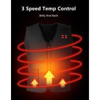 Gilet chauffant intelligent 3 niveaux de temperature de chauffage controlables 7 zones de chauffage Alimentation USB Noir double commande, S