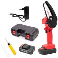 Mini scie achaine electrique sans fil rechargeable Scie achaine au lithium rouge, deux batteries et une charge, EU 220V