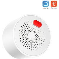 Alarme de gaz intelligente Tuya WIFI, detecteur de biogaz de gaz naturel de gaz liquefie APP telecommande + message d'alarme push 70 decibels alarme APP: norme europeenne Smart Life / Tuya