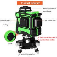 Jeu de niveau laser 3D 12 lignes, niveau + support triangulaire + alimentation + mallette de transport + manuel, EU 220V