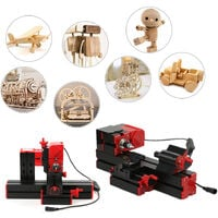 Mini tour ametaux, mini petite machine-outil combinee, scie multifonction six en un, fraiseuse, perceuse, meuleuse, version aluminium-plastique, petite norme europeenne