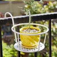 Le support de pot de fleur convient au support de pot de fleur de rail cloture de fer pot de fleur suspendu conteneur de pot de fleur noir