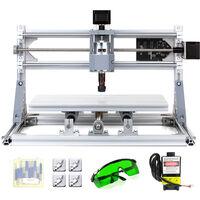Mini machine-outil de gravure CNC deux en un Controle Laser et moteur avec mandrin de moteur ER11 + lunettes + tete laser 1000 mW prise EU