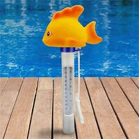 Dessin animemignon piscine outil de mesure de la temperature mesure de la temperature de l'eau flottante poisson rouge jaune