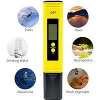 Stylo de test de pH d'eau portable jaune PH metre LY06 (avec retroeclairage visible, plage de mesure 0-14PH, erreur 0,05PH, y compris la pile bouton * 2)