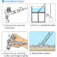 Changeur d'eau pneumatique a pression manuelle HugeSun, laveuse de sable d'aquarium, dispositif d'aspiration de toilettes, outil de nettoyage de changement d'eau d'aquarium BS-668 M