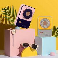 Ventilateur de cou suspendu Ventilateur de sport paresseux portable exterieur Chargement USB Ventilateur etudiant portable, jaune