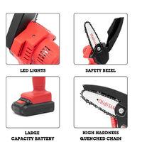 Scie d'elagage electrique, petite scie electrique rechargeable avec chargeur et 1 batterie, norme europeenne, rouge