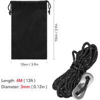Accessoires de tente d'auvent de boucle de corde de vent de polyester noir