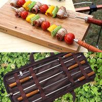 Ensemble de 5 broches pour barbecue exterieur en acier inoxydable, nouveau modele