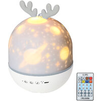 Cute deer charging remote control USB night light projection lamp with remote control can be timed