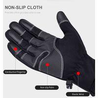 Gants d'exterieur impermeables et coupe-vent Gants de ski chauds a ecran tactile, fermeture eclair noire S