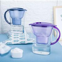 Bouteille d'eau transparente 2.5L, purificateur d'eau domestique, filtre a eau a charbon actif, violet