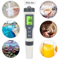 PH-metre numerique avec testeur de qualite de l'eau ATC 3 en 1 PH / metre de temperature Testeur de solide dissous total Detecteur d'eau pour piscine d'eau potable Spa Lab Aquarium Pond PH Test Tool pour l'eau,modele: Gris et Blanc