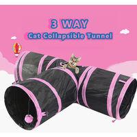 Tunnel de chat Tunnel de jeu pour animaux de compagnie a 3 voies Tunnel pliable Jouet pour chats Chiens Lapins Animaux de compagnie,modele:Rose