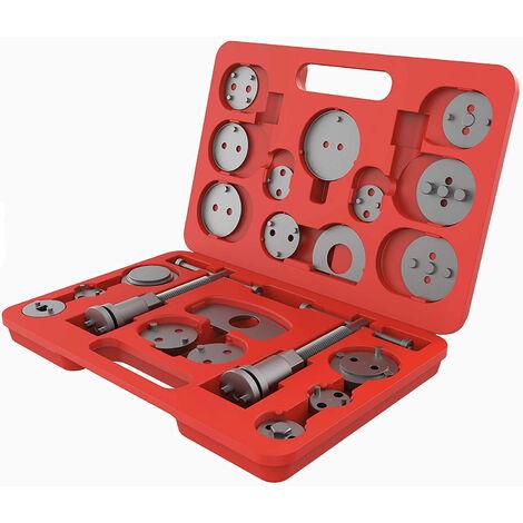 Set d'Outils pour Étrier de Frein, Kit de Réparation pour Repousse Piston, avec une mallette rouge, 21 pièces, Matériau: Acier C45