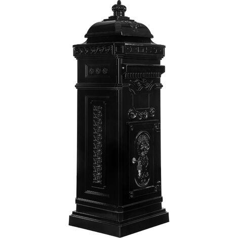 Boîte aux lettres sur pied, style antique anglais, aluminium inox, hauteur: 102,5 cm, coloris : gris anthracite, garantie: 3 ans