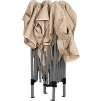 INSTENT® Structure de tonnelle pliante 3x3m acier , couleur beige, avec sac de transport à roulettes