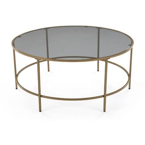 Table basse en verre noir et métal THESSA