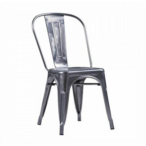 Chaise Retro métal gris Galvanisé - Inox