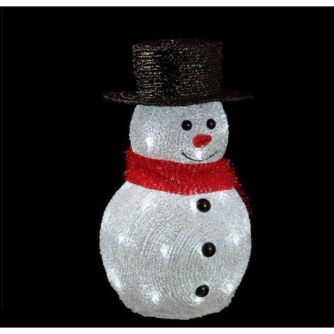 Bonhomme de neige lumineux 32 LED - Secteur, Blanc froid