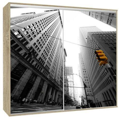 Armoire 2 portes coulissantes Loppee largeur 155 cm décor City - Chêne