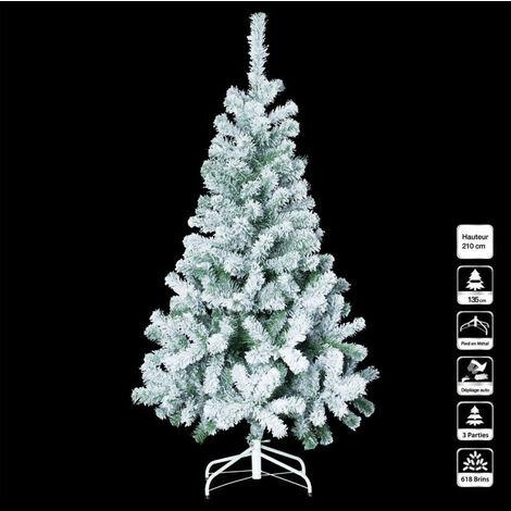 Sapin de Noël 210 cm vert floqué blanc avec pied - Vert