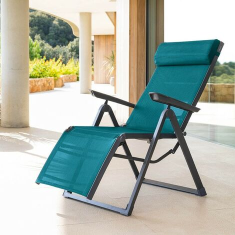 Chaise longue Decima Hespéride bleu canard - Bleu canard